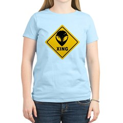 Yellow Alien Crossing Sign T-Shirt
