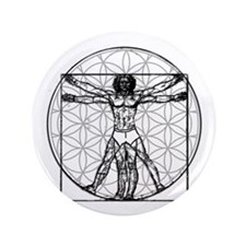"""Vitruvian Flower of Life 3.5"""" Button"""