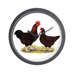 Dk Red Broiler Chickens Wall Clock