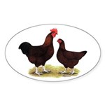 Dk Red Broiler Chickens Oval Sticker (10 pk)