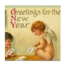 New Year Angel Cherub Art Tile Coaster