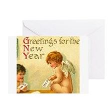New Year Angel Cherub Greeting Card