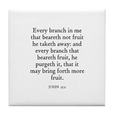JOHN  15:2 Tile Coaster