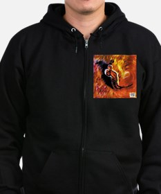 Mother escaping with two chil Zip Hoodie (dark)