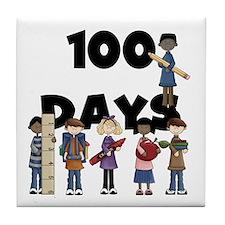 School Children 100 Days Tile Coaster