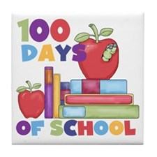 Books 100 Days Tile Coaster