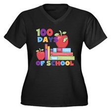 Books 100 Days Women's Plus Size V-Neck Dark T-Shi
