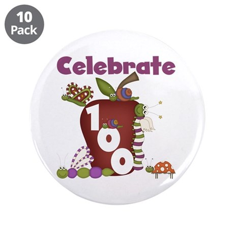 """Bugs and Apple 100 Days 3.5"""" Button (10 pack)"""