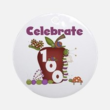 Bugs and Apple 100 Days Ornament (Round)