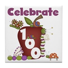 Bugs and Apple 100 Days Tile Coaster