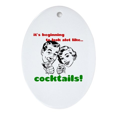 Cocktails! Oval Ornament