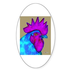 Hot Pink/Blue Rooster Oval Sticker (10 pk)