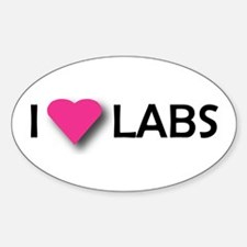 I LUV LABS Oval Decal