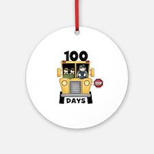 School Bus 100 Days Ornament (Round)
