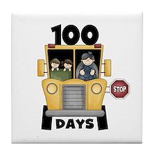 School Bus 100 Days Tile Coaster