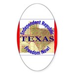 Texas-3 Oval Sticker (10 pk)