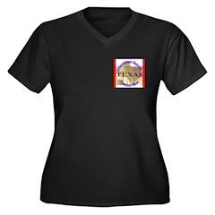 Texas-3 Women's Plus Size V-Neck Dark T-Shirt