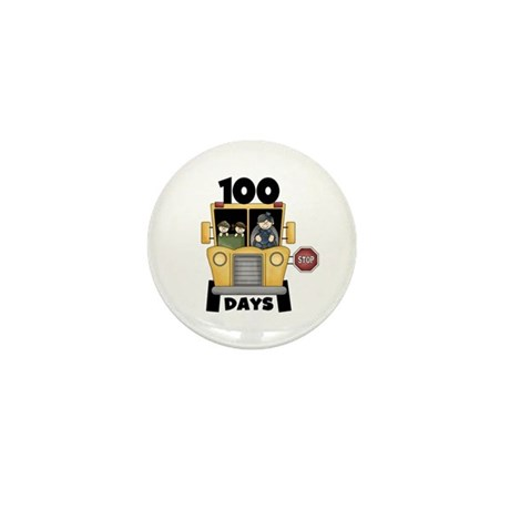 School Bus 100 Days Mini Button