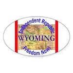 Wyoming-3 Oval Sticker (50 pk)
