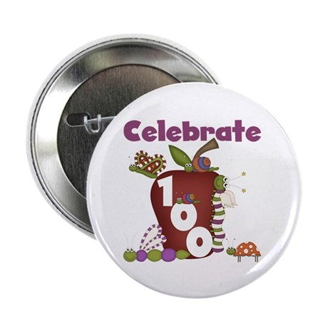 "Bugs and Apple 100 Days 2.25"" Button (10 pack)"
