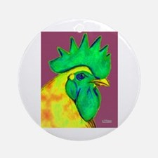 Green/Yellow Rooster Ornament (Round)