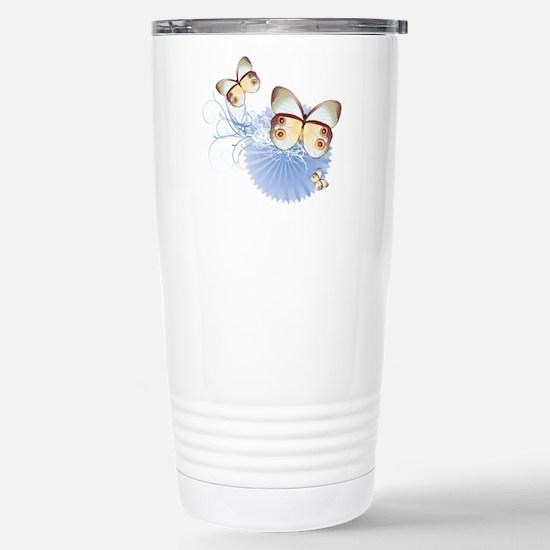 Blue Butterflies Stainless Steel Travel Mug