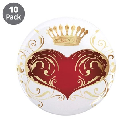 """Royal Heart 3.5"""" Button (10 pack)"""