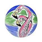 New Orleans Art Flamingos Ornament (Round)