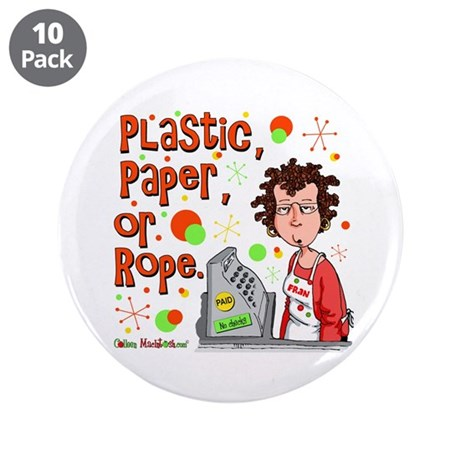 "Plastic, Paper or Rope 3.5"" Button (10 pack)"