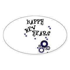 HAPPY NEW YEARS Oval Sticker (10 pk)