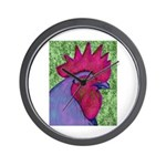 Red/Purple Rooster Wall Clock