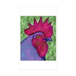 Red/Purple Rooster Rectangle Sticker 10 pk)