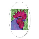 Red/Purple Rooster Oval Sticker (10 pk)