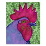 Red/Purple Rooster Small Poster