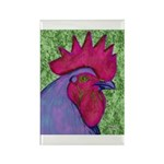 Red/Purple Rooster Rectangle Magnet (10 pack)