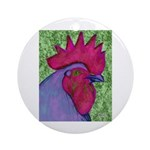 Red/Purple Rooster Ornament (Round)