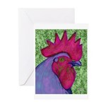 Red/Purple Rooster Greeting Card