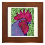 Red/Purple Rooster Framed Tile