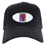 Red/Purple Rooster Black Cap