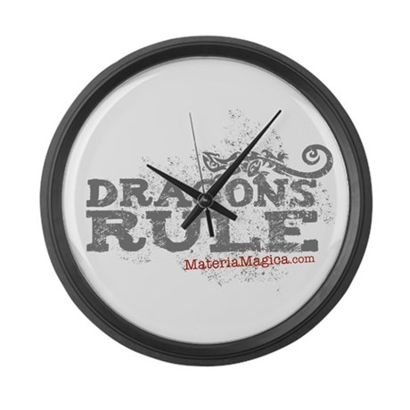 Dracon Rule /With Wings Large Wall Clock