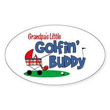 Grandpa's Little Golfin' Buddy Oval Decal