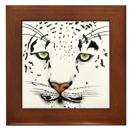 Snow Leopard Framed Tile