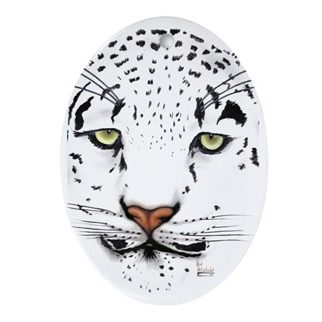 Snow Leopard Oval Ornament