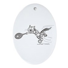 Tennis Cat Oval Ornament