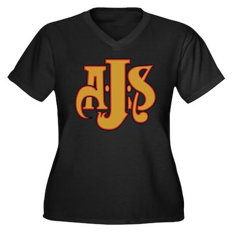 AJS Women's Plus Size V-Neck Dark T-Shirt