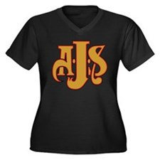 AJS Women's Plus Size V-Neck Dark T-Shirt