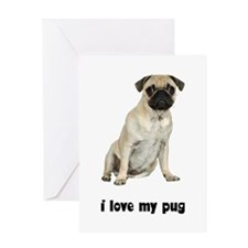 I Love My Pug Greeting Card