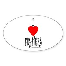 I Love Fighters Oval Decal