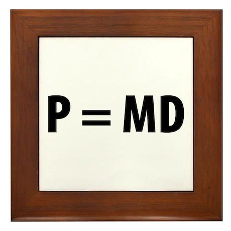 Med Student P=MD Framed Tile