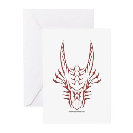 Red Dragon Head Greeting Cards (Pk of 20)